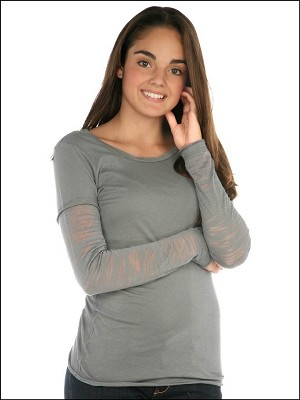 Girls 7-16 Sheer Jersey Raw Edge Twisted Round Neck Contrast Two-Fer Burnout Long Sleeve Silicon Wash