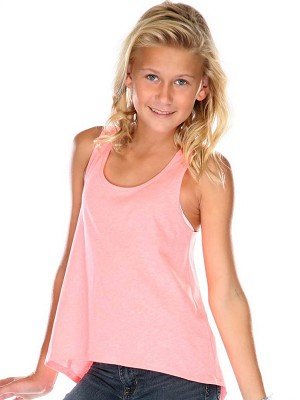 Girls 7-16 Jersey Scoop Neck High Low Tank