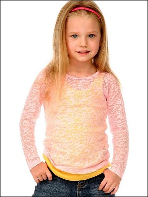Girls 3-6X Burnout Twisted Crew Neck Long Sleeve