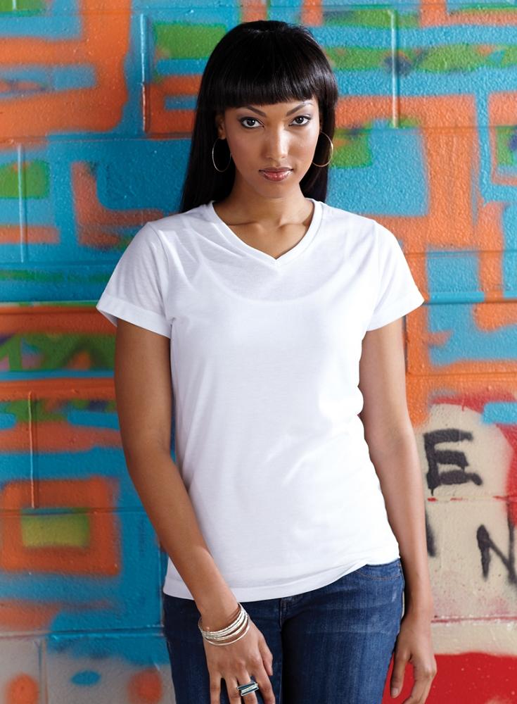 Ladies V Neck Polyester Sublimation T Shirt