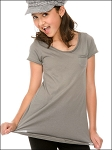 Girls 7-16 Sheer Jersey Double Raw Edge Scoop Neck Penny Pocket Short Sleeve