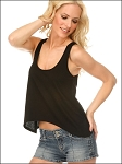 Sheer Jersey Scoop Neck Asymmetrical Crop Tank