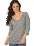 Women Snow Jersey V Neck 3/4 Sleeve Silicon Wash