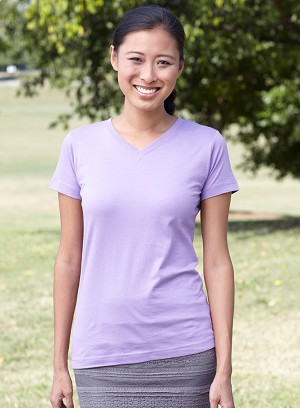 Ladies V-Neck Longer Length T