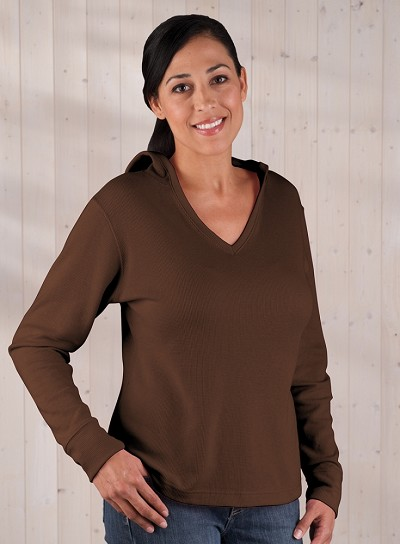 Ladies Thermal V-Neck Hoodie