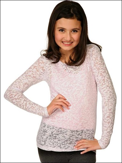 Girls 7-16 Burnout Twisted Crew Neck Long Sleeve