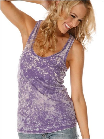 Retro Wash BurnOut Jersey Scoop Neck Racer Back Tank