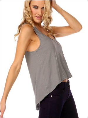 Sheer Jersey Scoop Neck High Low Tank