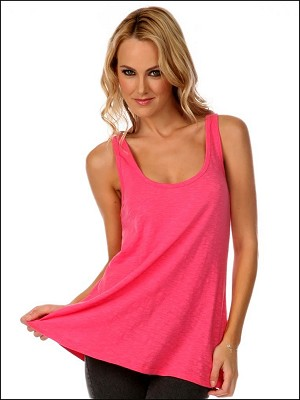 Slub Jersey Scoop Neck Flowy Tank