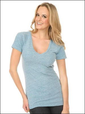 Snow Jersey V Neck Short Sleeve Silicon Wash