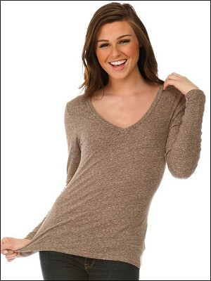 Snow Jersey V Neck Long Sleeve Silicon Wash