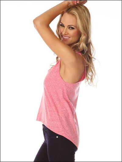 Jersey Deep Scoop Neck High Low Racer Back Tank