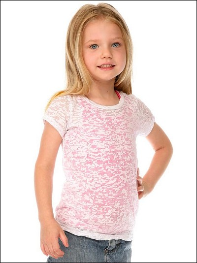 Girls 3-6X Burnout Twisted Crew Neck Short Sleeve