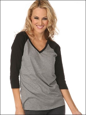 Women Sheer Jersey Cntrst V Neck Raglan 3/4 Sleeve